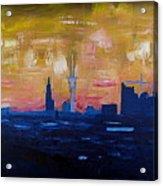 Hamburg Skyline At Dusk With Elbe Philharmonic Hall Acrylic Print