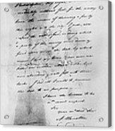 Hamilton: Letter, 1777 Acrylic Print