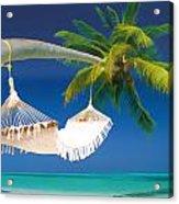 Hammock Palm And Ocean Acrylic Print