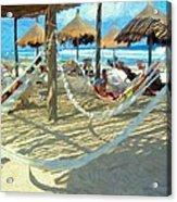 Hammocks And Palapas - Xel-ha Mexico Acrylic Print