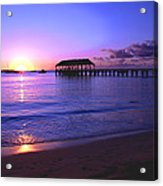 Hanalei Bay Pier Sunset Acrylic Print by Brian Harig