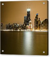 Hancock Building Reflection From North Ave Beach Acrylic Print