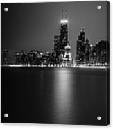 Hancock Building Reflection From North Ave Beach - Black And White Acrylic Print