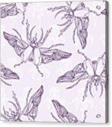 Hand Drawn Beetles Seamless Pattern Acrylic Print