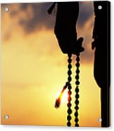 Hand Holding Rudraksha Beads Acrylic Print