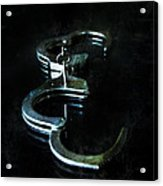 Handcuffs On Black Acrylic Print by Jill Battaglia