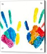 Hands Painted Stamped On Paper Acrylic Print
