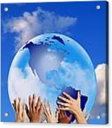 Hands Touching A Globe Acrylic Print by Don Hammond