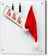 Hanging Santa Hat And Sign Acrylic Print by Amanda Elwell
