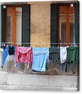 Hanging The Wash In Venice Acrylic Print