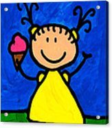 Happi Arte 3 - Little Girl Ice Cream Cone Art Acrylic Print by Sharon Cummings
