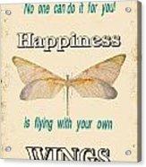 Happinesstypography Acrylic Print
