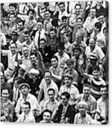 Happy Baseball Fans In The Bleachers At Yankee Stadium. Acrylic Print by Underwood Archives