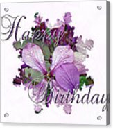 Happy Birthday Greeting Card - Purple Luneria Acrylic Print