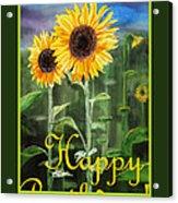 Happy Birthday Happy Sunflowers Couple Acrylic Print