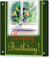 Happy Birthday Tulip Bunch Acrylic Print