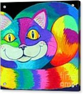 Happy Cat Dark Back Ground Acrylic Print