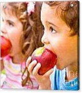 Happy Children Eating Apple Acrylic Print