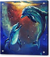 Happy Dolphins Acrylic Print by Marco Antonio Aguilar