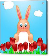 Happy Easter Bunny Rabbit On Field Of Tulips Flowers Acrylic Print