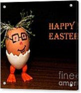 Happy Easter Greeting Card. Funny Eggmen Series Acrylic Print