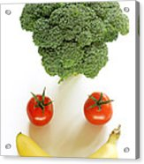 Happy Fruit And Vegetable Face Acrylic Print