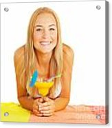 Happy Girl With Cocktail Acrylic Print