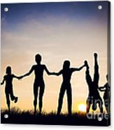 Happy Group Of People Friends Family Together Acrylic Print