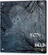 Happy Halloween - Ghost In Trees Acrylic Print