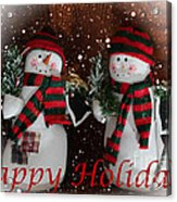 Happy Holidays - Christmas - Snowman Collection - Greeting Cards Acrylic Print