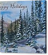 Happy Holidays Forest And Mountains Acrylic Print