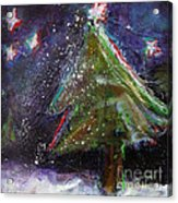 Happy Holidays Red And Blue Wishing Stars Acrylic Print by Johane Amirault