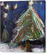 Happy Holidays Silver And Red Wishing Stars Acrylic Print by Johane Amirault