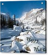 Happy Holidays Snowy Mountain Scene Acrylic Print