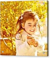 Happy Little Girl In Autumn Park Acrylic Print