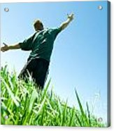 Happy Man On The Summer Field Acrylic Print
