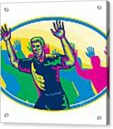 Happy Marathon Runner Running Oval Retro Acrylic Print by Aloysius Patrimonio