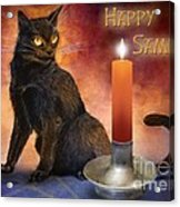 Happy Samhain Kitten And Candle Acrylic Print