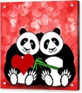 Happy Valentines Day Panda Couple Hearts Bokeh Acrylic Print