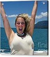 Happy Woman On Holiday  Acrylic Print