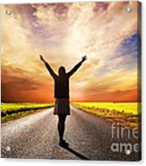 Happy Woman Standing On Long Road At Sunset Acrylic Print