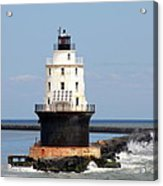 Harbor Of Refuge Light  And Breakwater Acrylic Print