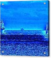 Harbor Of Refuge Lighthouse And Sailboat Abstract Acrylic Print