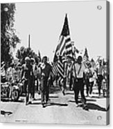 Hard Hat Pro-viet Nam War March Saluting Cops Tucson Arizona 1970 Black And White Acrylic Print