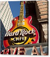 Hard Rock Cafe Guitar Sign In Philadelphia Acrylic Print