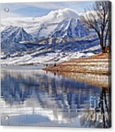 Hardy Fishermen Deer Creek Reservoir And Timpanogos In Winter Acrylic Print