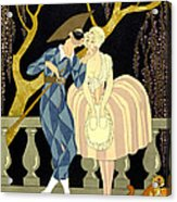 Harlequin's Kiss Acrylic Print by Georges Barbier
