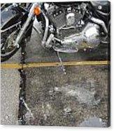 Harley Close-up Rain Reflections Wide Acrylic Print