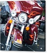 Harley Red W Orange Flames Acrylic Print
