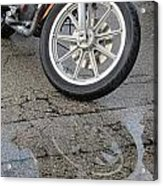 Harley Reflection In Rain  Acrylic Print